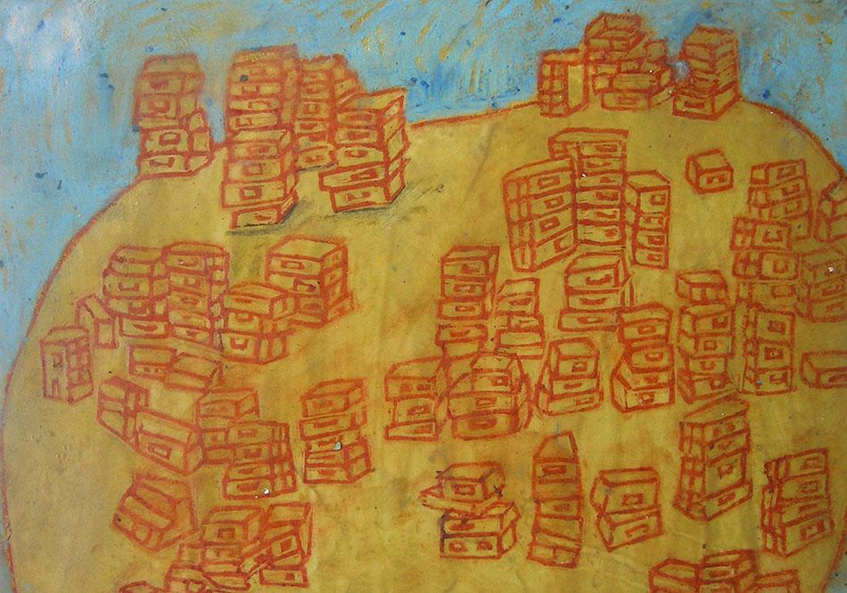 Marginalia X. Oil and oil pastel on paper. 15 x 21 cm. 2008