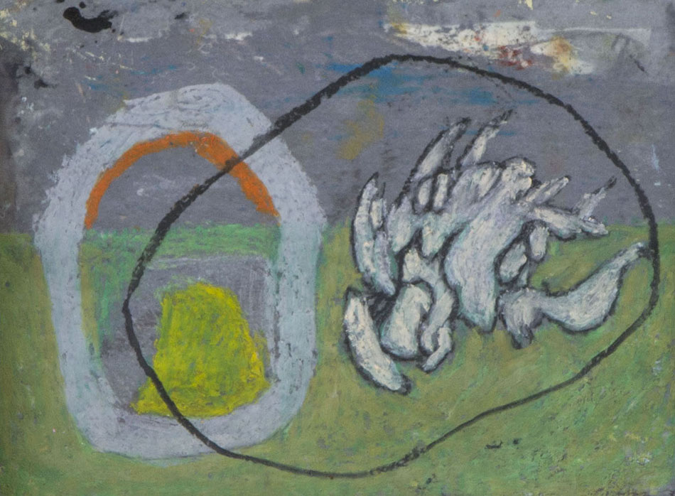 Marginalia XVI. Oil and oil pastel on paper. 15 x 21 cm. 2008