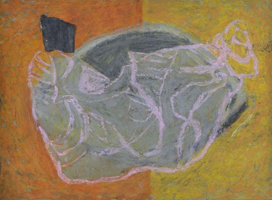 Marginalia XVII. Oil, oil pastel and collage on paper. 15 x 21 cm. 2008
