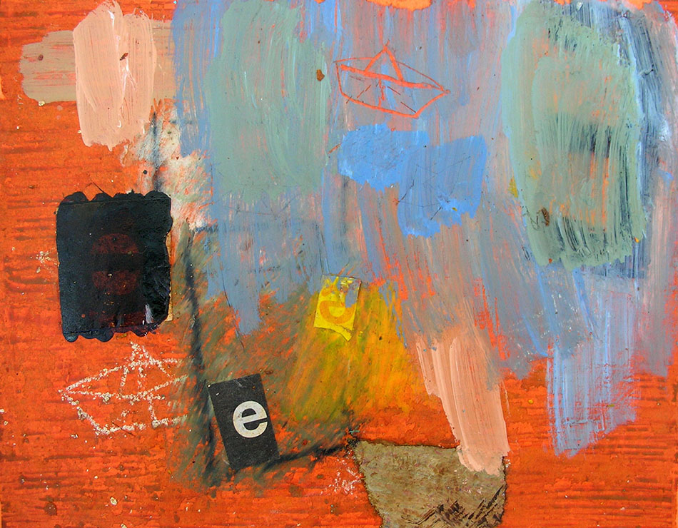 Pharmakos 3. Oil, oil pastel and collage on card. 18 x 14 cm. 2007
