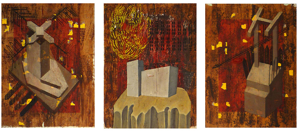Poi Piovve Dentro triptych. Oil and collage on wood panel. 2009