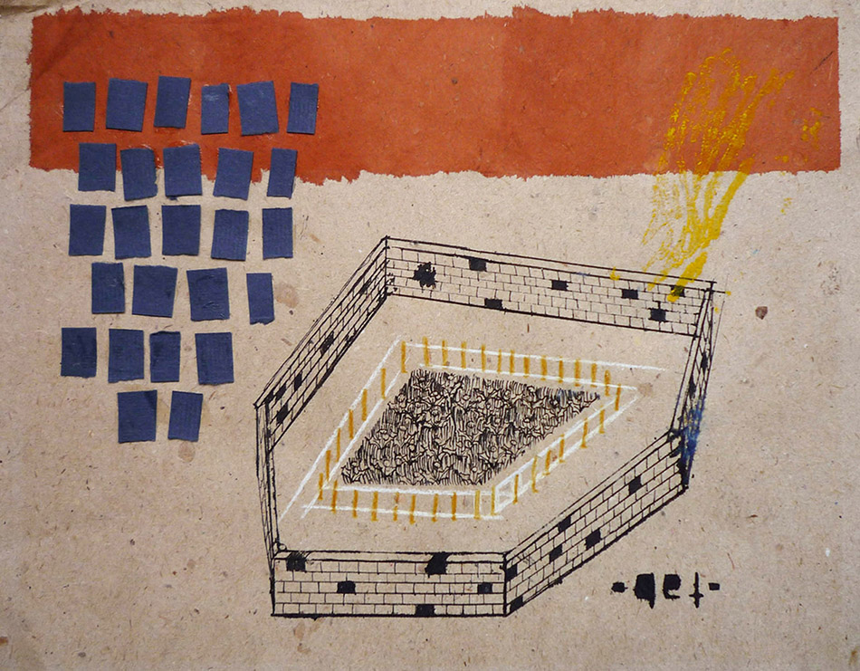 What is a box no. 1. Ink, oil and collage on paper. 18 x 25 cm. 2009