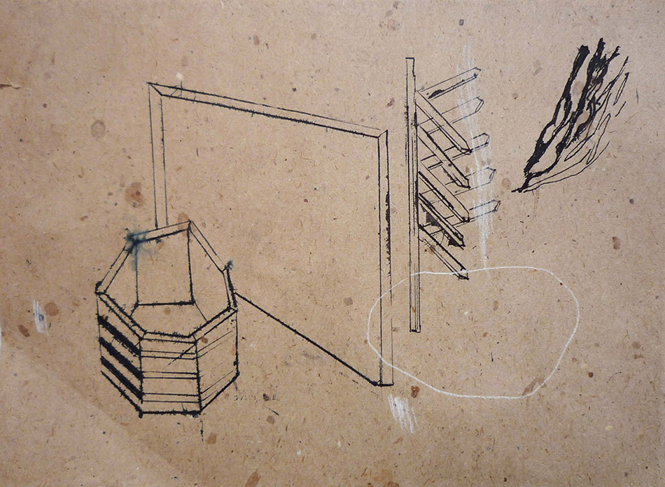 What is a box no. 6. Ink and pencil on paper. 18 x 25 cm. 2009