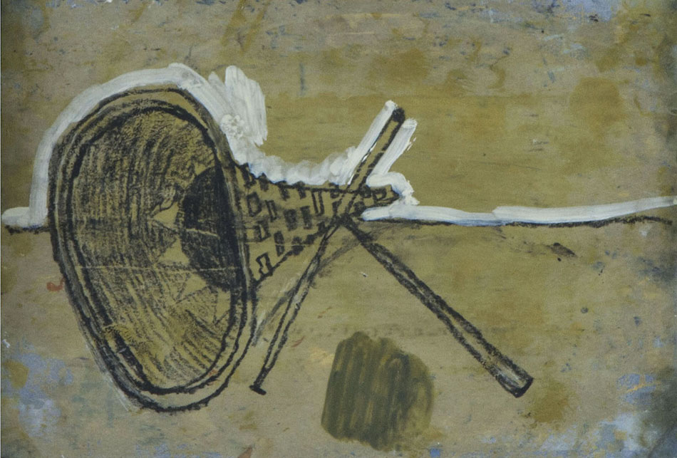 Marginalia IX. Oil and oil pastel on paper. 15 x 21 cm. 2008