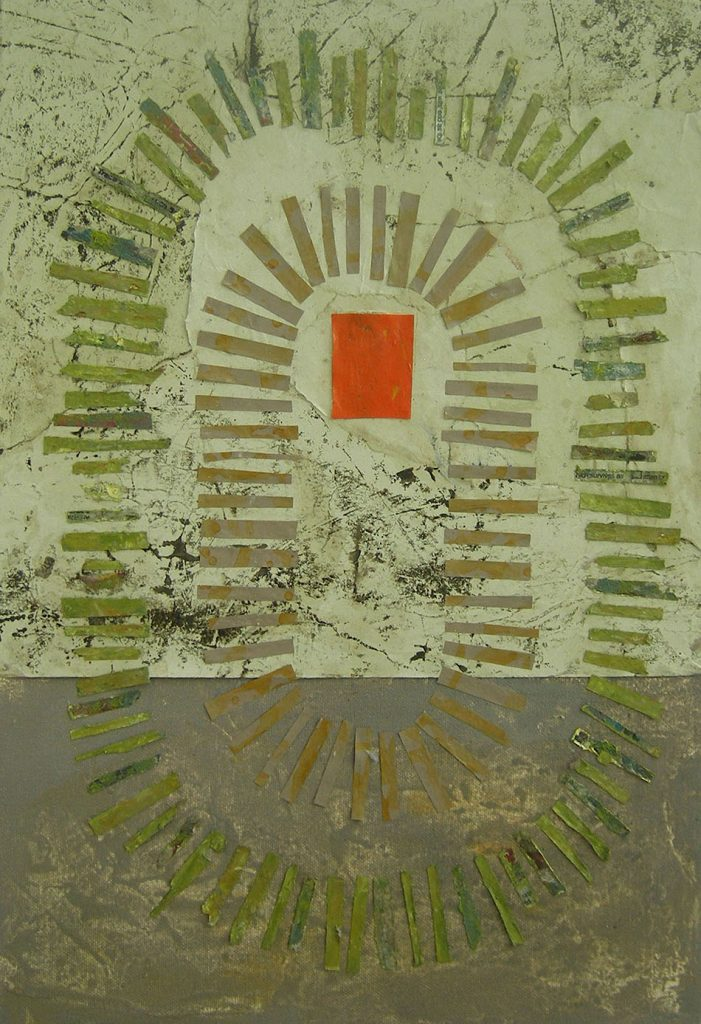 Hermeneutic Circle iii. Oil and collage on canvas. 46 x 32 cm. 2008