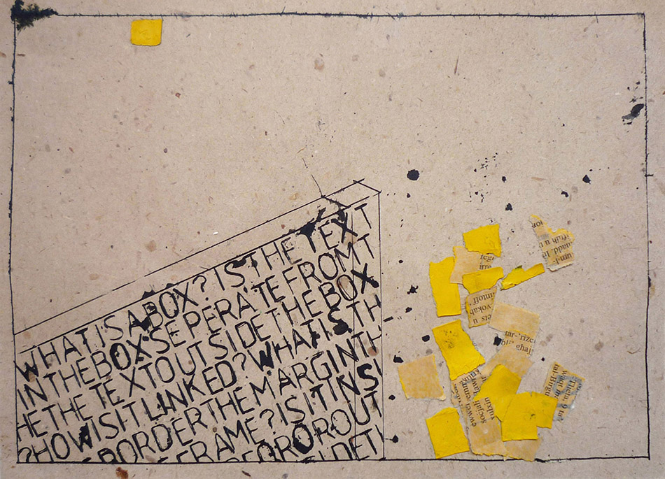 What is a box no. 7.  Ink and collage on paper. 18 x 25 cm. 2009